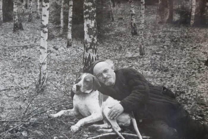 Михаил Пришвин с собакой