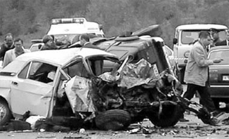 Машина Валерия Харламова после аварии