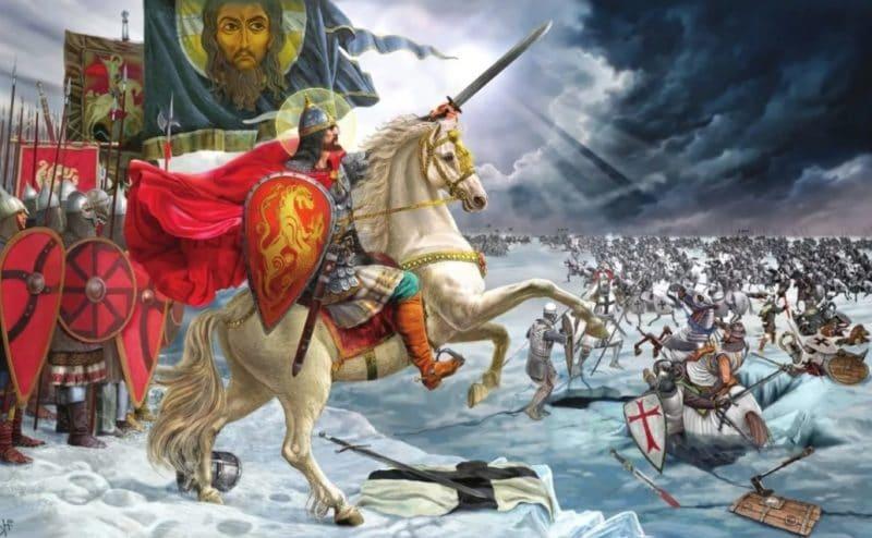 Александр Невский во главе Ледового побоища