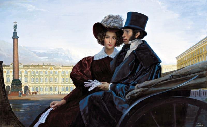 Александр Пушкин с женой Натальей