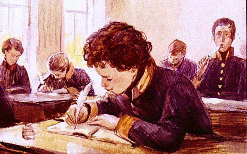 На картине Александр Пушкин в лицее