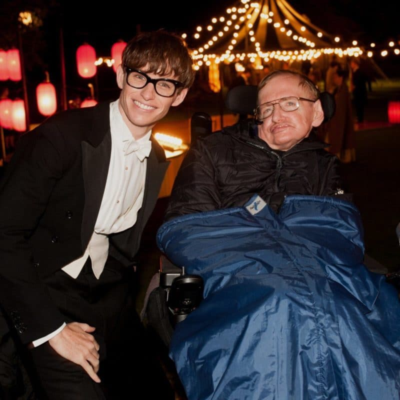 Стивен Хокинг с актером сыгравшим его роль Эдди Редмэйном