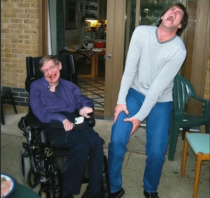 Стивен Хокинг с Джимом Кери