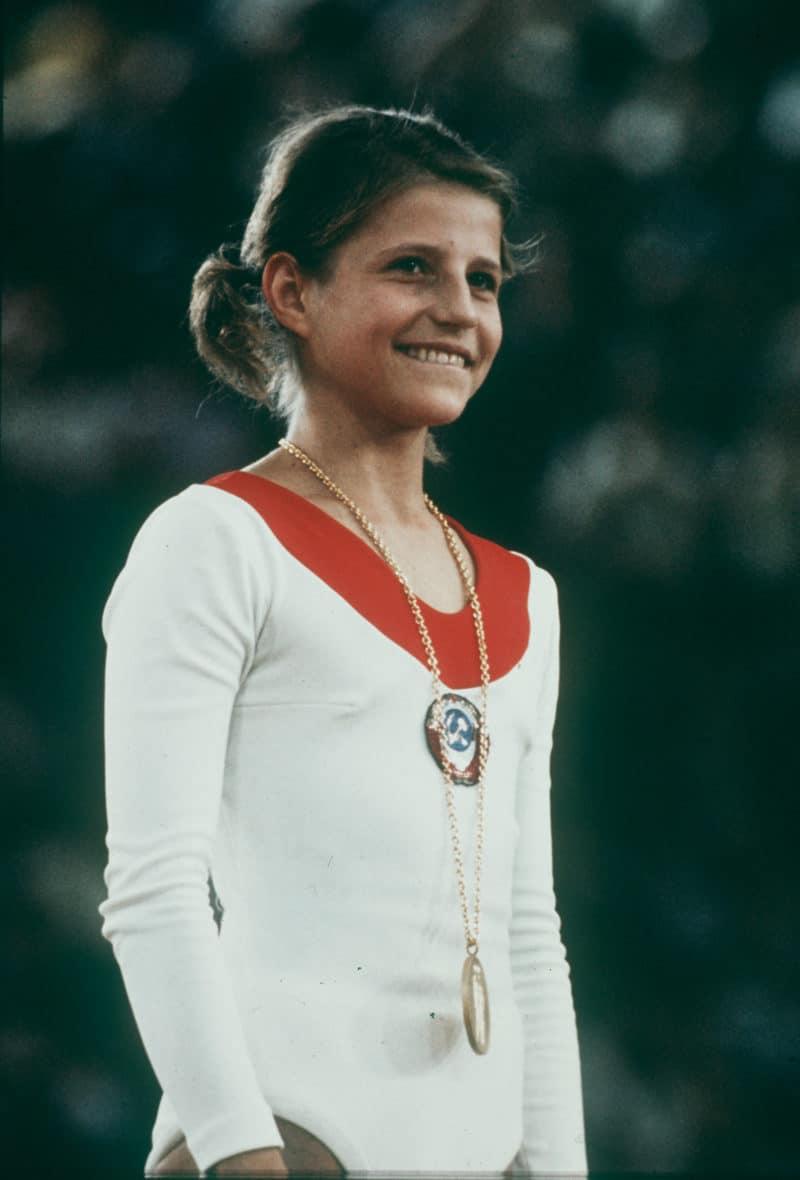 Ольга Корбут в юности на олимпеаде