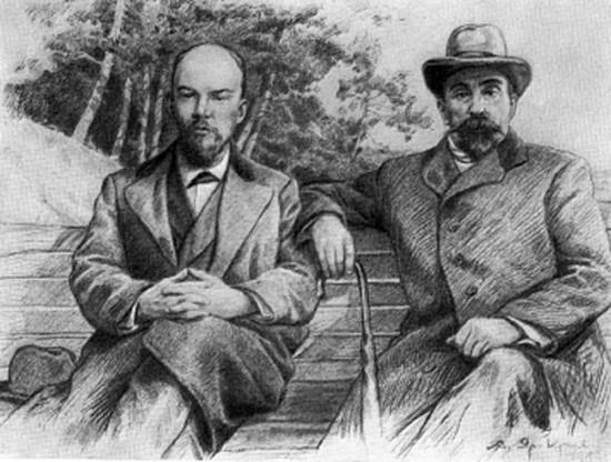Владимир Ленин с Георгием Плехановым