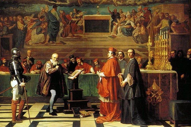 На картине Галилео Галилей перед инквизицией