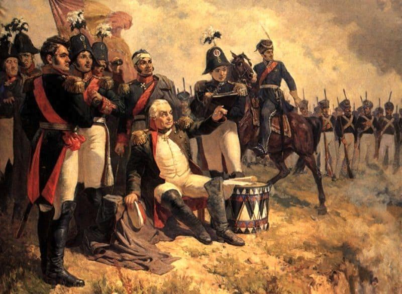 Картина Бородинского сражения 1812 с Кутузовым