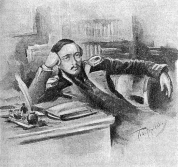 Михаил Лермонтов за письменным столом