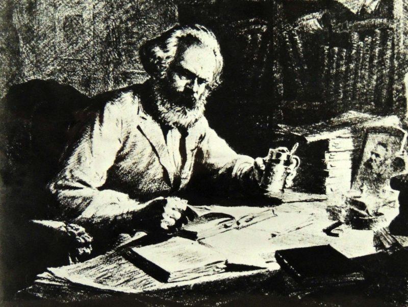 Карл Маркс за столом