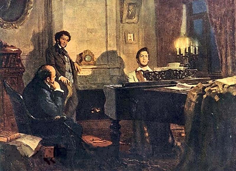 На картине Пушкин и Жуковский у Глинки
