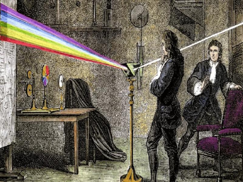 Исаак Ньютон изучает преломление света
