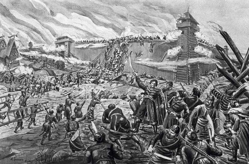 Штурм стен войсками Разина