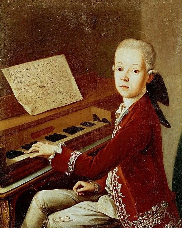 Портрет Шопена в юности за фортепьяно