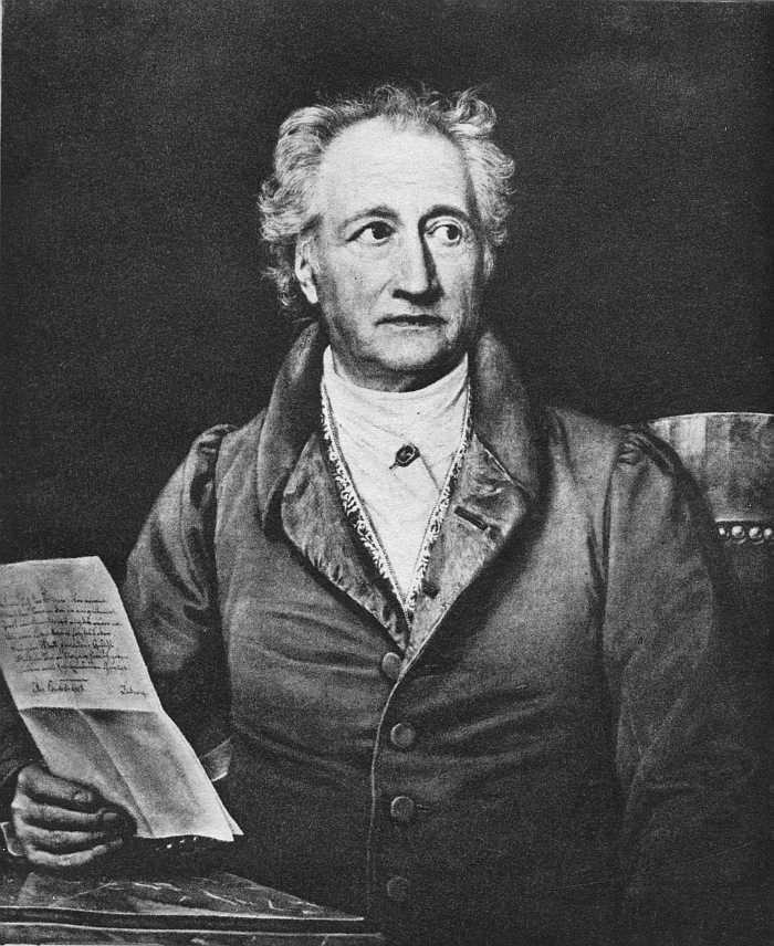 Иоганн Гете с рукописью
