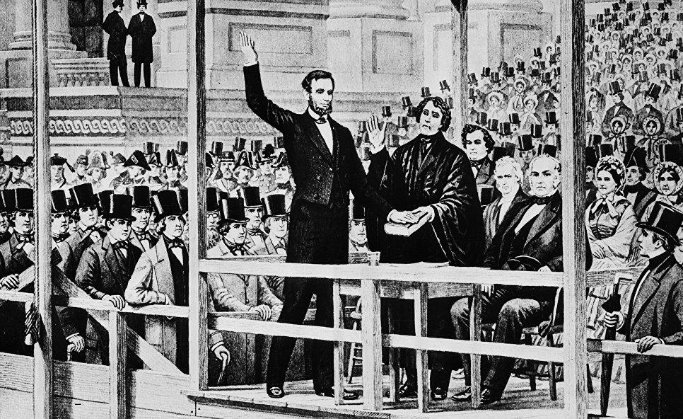 Авраам Линкольн на первой иннагурации