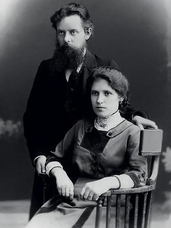Павел Бажов с женой